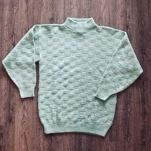 Vintage 80s Mint Green & Silver Mock Neck Sweater